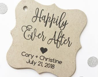 Happily Ever After Printed Kraft Wedding Favor Tags, Custom Wedding Favor Tags, Fairytale Wedding, Love, Heart (FS-137-KR)