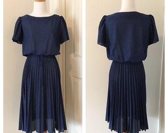 Vintage Navy Blue Polka-Dot Day Dress. Vintage Blue Polka Dot Dress. Polka Dot Secretary Dress. Navy Blue Boatneck Dress.