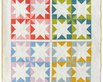 Stars Hollow Quilt Pattern PDF Download - DIY Sewing for Beginners Traditional Modern Quilting Design for Throw/Lap Sizes