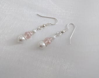 White Pearly beads and powder pink crystal earrings