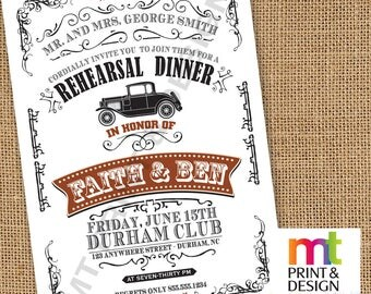 Wedding Shower Rehearsal Dinner Vintage Antique Car Invitations PRINTED with envelopes