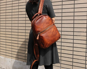 Brown Leather Backpack Woman,Woman Travel Backpack, Women Travel Bag, School Bag, Honey Brown Leather Bag,Ladies backpack,Women's gift