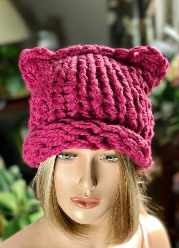 items similar to pussyhat womens march knit hat pink
