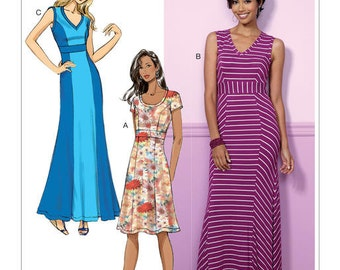 Butterick Pattern B6449 Misses' V-Neck or Scoopneck, Princess Seam Dresses