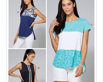 068d587e3d3 McCall s Pattern M7600 Misses  Women s Pullover Tops with Contrast and  Sleeve Variations