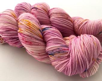 Hand Dyed/Hand Painted Yarn-- Pinkalicious on Superwash 80 Merino/20 Nylon 2-Ply Twist Sock
