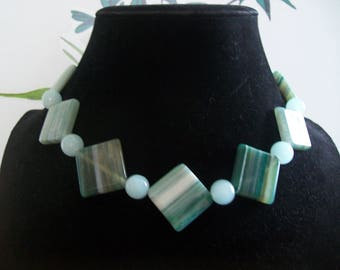 Green and light blue necklace with earrings