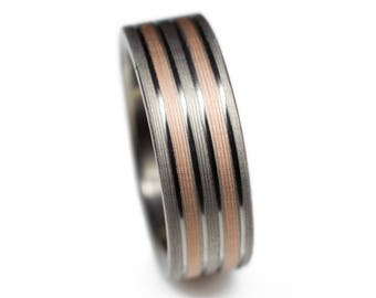 Rose Gold And Titanium Ring - Rose gold promise ring, rose gold wedding band, titanium wedding rings for her, promise ring