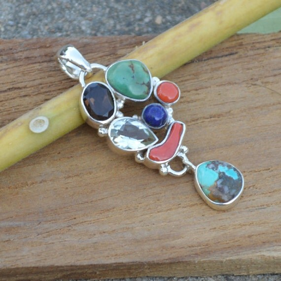 Natural Tibetan Turquoise Pendant, Lapis Pendant,  Coral Set In Sterling Silver Jewelry, Green Amethyst Pendant, Designer Silver Pendant