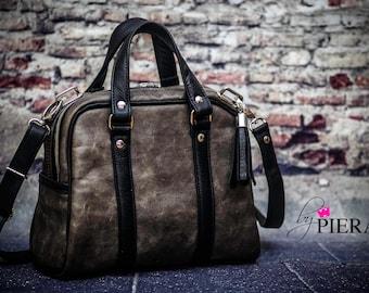 vintage leather bag, leather satchel, rustic women's Handbag, brown leather purse, vintage leather handbag, handmade leather bag