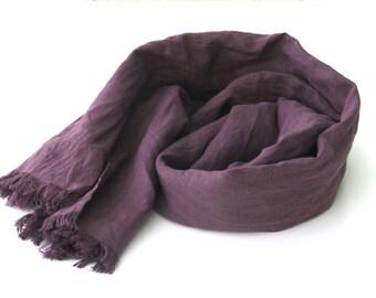 purple linen scarf for women and men - eggplant - aubergine - long