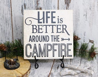 Life Is Better Around The Campfire Vinyl Decal Quote Tile, Camper Decor Tile, Camping Vinyl Decal Tile