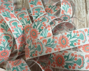 Grosgrain Ribbon, Hairbow supplies, Flower Printed Ribbon, Tropic Coral Floral print, Ribbon by the Yard, Crafting Ribbon, DIY sewing supply