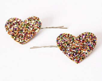 Glitter Heart Hair slides, Heart Hair clips, Heart Hair grips, girls hair accessory, glitter hair accessories