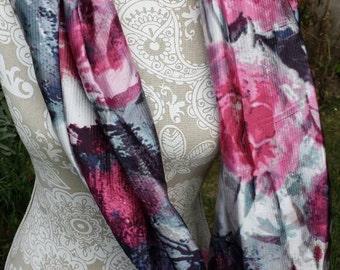 Flower Infinity Scarf, Galaxy Infinity Scarf, Infinity Scarf, Floral Infinity Scarf, Scarf, Gift for her, Fashion Scarf, Silky Scarf, Gift
