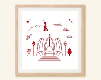 SARDINIA Italy outlined illustration souvenir monuments