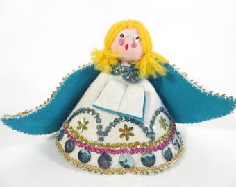 Vintage Sequined Beaded Felt Christmas Angel