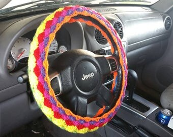 2 in 1 Crochet Steering Wheel Cover, steering wheel cozy, reversible steering wheel cover CHOOSE YOUR COLOR - the waves