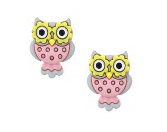 Owl Buttons Jesse James Buttons Whooo Loves You Dress It Up Buttons Set of 2 Shank Back - 729 B