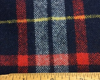 Navy Red and Grey Wool Plaid - VINTAGE