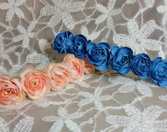 Baby Peach or Blue Elastic Flower Crown; Elastic Kid's Flower Headband; Blue Flower Headband; Elastic Flower Headband; Peach Flower Headband