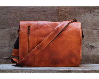 Men's Distressed Full Grain Leather Messenger Bag, Leather Bag, Cross Body Bag, Briefcase (68023TAN)