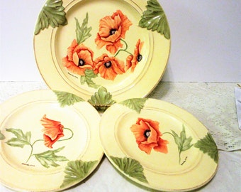 Sale Plates Hand Painted Poppy Enesco Country Gate Ceramic Porcelain Pottery Vintage