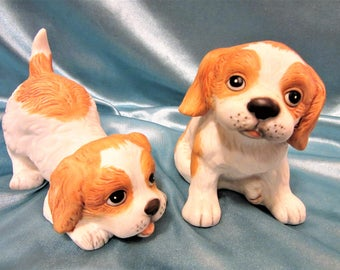 Dog Figurine by Homco Puppy Porcelain Collectibles number 1407 Vintage