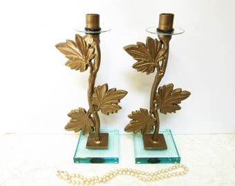 Sale Candle Holders Cast Iron Glass Base Home Decor Set of Two