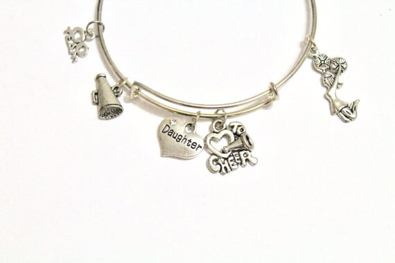 Cheer Expanding Bangle Charm Bracelet, Cheer Mom Gift, Cheer Grandmother Gift, Cheer Jewelry, Cheerleader Gift, Gift For Her, Valentines Day