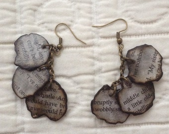 ASOUE burned book page earrings