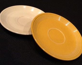 vintage 2 homer laughlin fiesta plates 1 yellow saucer u0026 1 cream - Fiesta Plates