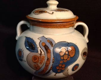 Vintage Tonala Pottery Bowl <> Ken Edwards <> Hand Painted Bean Pot <> VERY RARE Fruit Design <> 1960's <> Great Vintage Condition