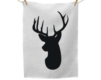 Deer Head Black, Tea Towel Red