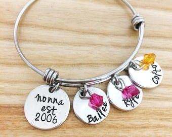 Grandma Mimi Nonna Nana EST bracelet - grandchildren bracelet - hand stamped bracelet - gift for grandma - jewelry for mimi - Mothers Day