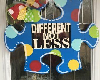 FAST SHIPPING!! Autism door hanger, autism awareness door hanger, autism, autism speaks, different not less, door hanger, door decor