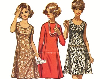 Womens Plus Size Princess Seam Dress Pattern Jewel or Scoop Neck A Line Dress Pattern Vintage 1970s Sewing Pattern Simplicity 8888 Bust 42