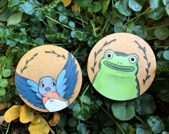Over the Garden Wall - Beatrice & Jason Funderburker (Frog) Hand Painted Character Pins / Buttons / Brooches