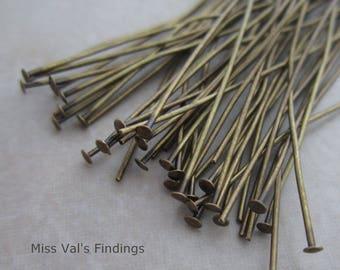 200 antique brass 2.5 inch headpins 21 gauge