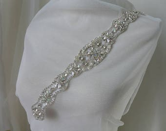 Boutique Victorian Rhinestone Applique, Crystal Applique With Pearls For Bridal Belts, Wedding Dress Decoration