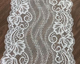 "Stretch Lace Off White Color, Off White Lace, Elastic Lace, Wide Lace, 7.1"" Inch Lace, Lace By The Yard"