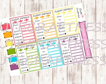 Flight details  airplaine stickers Perfect for planner