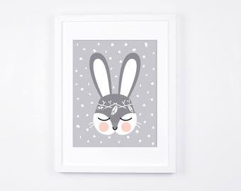 Bunny Nursery Art Print, Woodland Bunny Printable Art, Grey and Peach Art Download, Printable Nursery Art, Scandinavian Modern Neutral