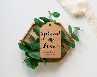 Spread The Love wedding favor tags, jam favor tags, personalized tags, jam gift tags, spread the love tags, bridal shower tags
