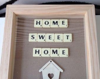 Scrabble Frame - Scrabble Art -Scrabble Design  - Home Sweet Home -  Housewarming Gift