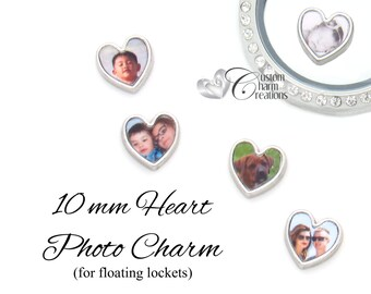 Floating Locket Photo Charm • Heart • 10mm • Custom Made Using Your Picture