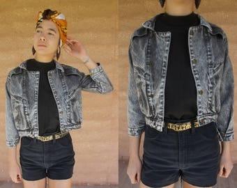 1980's 1990's Vintage charcoal grey denim cropped jacket grunge punk SM