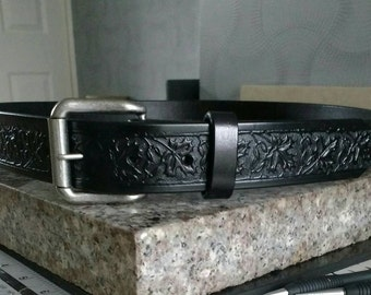 """Quality Black Maple Leaf Embossed 1 1/4"""" inch wide Hand Made Leather Belts"""