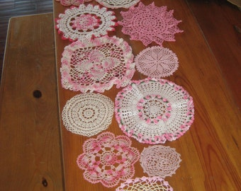 Vintage Crocheted Doily Table Runner, All in Pinks, White, Cream, Made to Order