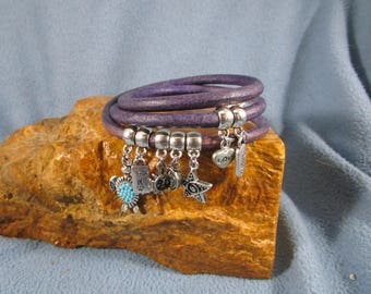 5mm Round Distressed Purple Leather Triple Wrap Bracelet with 7 Silver Charms and Magnetic Clasp